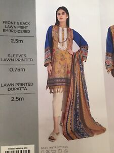Original Khaadi Pakistani 2 Piece Embroidered Lawn Material Unstitched