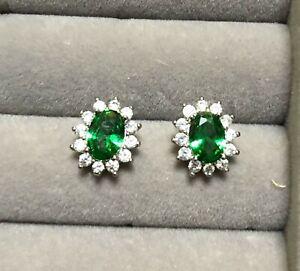 0.7ct 4x6mm oval emerald DIAM0NDS earrings