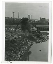 American Pollution - Auto Burning - Vintage 8x10 Photograph - New York City