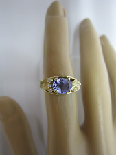 GORGEOUS ESTATE 14 KT GOLD 1.50 CT. TANZANITE AND DIAMOND RING 4.2 GRAMS !!!!!!!