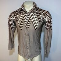 Vtg 60s 70s MIK A LOO Disco Shirt Brown Nylon SATURDAY NIGHT FEVER Mens MEDIUM