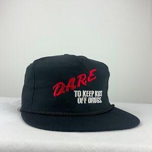 D A R E Anti Drugs Vintage Snapback Hat Cap Adjustable Black Rock Band