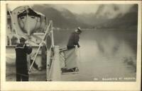 Ship Orontes & Sailors at Vadheim Norge Norway c1915 Real Photo Postcard