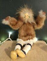 Alaskan Inuit Handmade Doll Eskimo Fur Leather