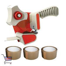 More details for 1 x packing tape gun dispenser 50mm & 3 x rolls brown buff tape 48mm x 66m new