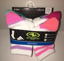 Pink And White Girl's Crew Socks 6pairs Athletic Works S/ 6-10 1/2