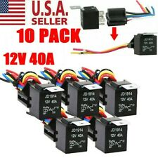 10Pack Amp 5-Pin SPDT Automotive Relay with Wires & Harness Socket Set 12V 30/40