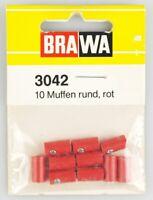 BRAWA 3042 Muffen, 10 Stück, 2,5mm, rund, rot, OVP, top!
