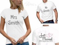 PERSONALISED JUST MARRIED HEARTS WEDDING T-SHIRT SET MEN'S WOMENS TSHIRTS D2