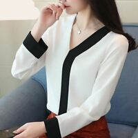 Women Tops Office Chiffon Blouse V-neck Long Sleeve Shirt Spring Blusas