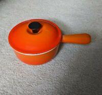 Vintage LE CREUSET #16 Enameled Cast Iron Saucepan w Lid, Red Orange Flame, EUC