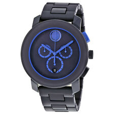 Movado Bold Navy Blue Stainless Steel Mens Watch 3600270