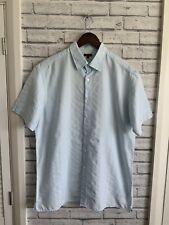 John Debenhams Size L Men's Light Blue Cotton Short-Sleeved Shirt