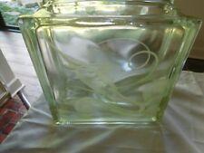 Vintage Nautical Decor Etched Marlin Fish Swordfish Glass Block Vase Unique