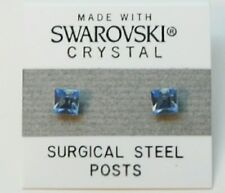 Blue Square Stud Earrings 5mm Light Crystal Made with Swarovski Elements Gift