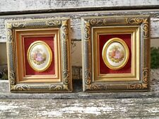2 anciens cadre dorés , miniatures porcelaine d'après Fragonard , San Sebastian