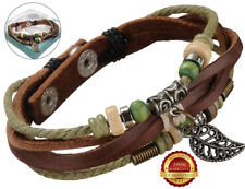Surfer Genuine Leather Bracelet Mens Leaf Double Rope Wrap Bead Wristband Surf