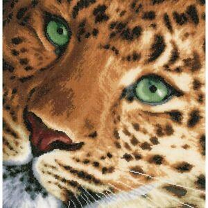 Leopard on Cotton Counted Cross Stitch Kit LanArte NEW cat jungle safari africa