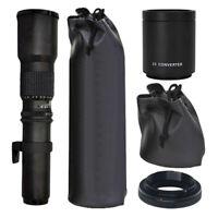 500mm f/8.0 Telephoto T-Mount Lens + 2x Multiplier & T-Mount Kit for Nikon SLR