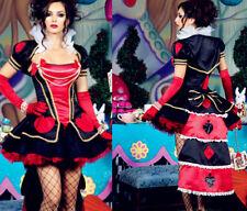 QUEEN OF HEART COSTUME Women Fancy Dress Adult Cosplay HALLOWEEN  Hen Party