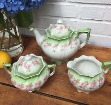 Antique Carlsbad Austria  Teapot  Creamer Sugar White/Pink/Green/Gold Trim
