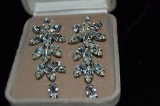 Vintage 90's FARRAH FAWCETT Silver-Tone Dangle Clip Earrings Rhinestones Boxed