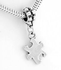 STERLING SILVER  AUTISM PUZZLE PIECE DANGLE BEAD