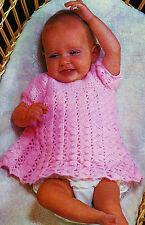 BABY CROCHET DRESS IN 4 PLY 18 to 22 INCH PATTERN    (206)