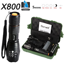 Goreit X800 Military Zoomable Ultra Bright 900 Lumens Hiking Flashlight XM-L T6