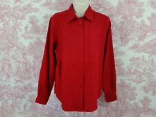 Villager Sport Womens Button Down Long Sleeve Career Blouse Top Size S Red