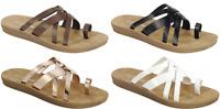 Double Crossed Straps Bands Toe Loop Slipon Comfort Padded Flat Sandals