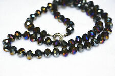 """Colorful 5X8 mm Black Multicolor crystal Jewel Necklace 18"""""""