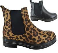 Ladies Womens Chelsea Ankle Boots Flat Chunky Sole Diamante Biker Shoes Size 3-8