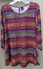 N. Directions Women's Lge Mosaic Abstract Stretch Poly Shirt Top Coral Purple Rd