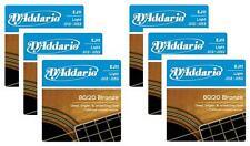 LOT OF 6 - D'Addario 80/20 Bronze Acoustic Guitar Strings, Light, 12-53, EJ11 ^6
