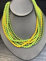 Vintage 1950's  6 Strand Lucite Beaded Necklace Hook Clasp Moss Green Yellow