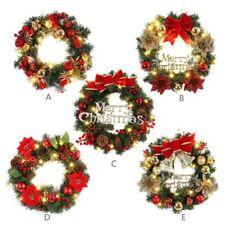 Spruce Christmas Wreath With LED Light Front Door Hanging Garland Home Products