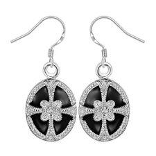 Damen Ohrring oval schwarz Ohrstecker Ohrringe pl. mit Sterlingsilber DO609 T::A