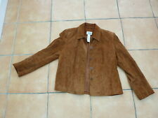 Ladies Retro Suede Leather Jacket Style & co size M