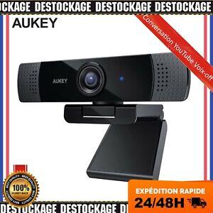 AUKEY Webcam 1080P Full HD avec Microphone Stéréo, Caméra Web pour Chat Vidéo FR