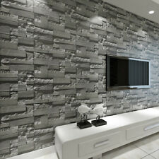 Modern 3d Grey Stacked Stone Wallpaper Roll Brick Slate Wall Effect 10m UK