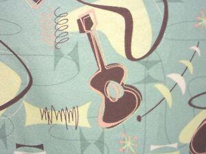 "Atomic 55""x42 PAIR Cotton Hawaiian Barkcloth Fabric CURTAINS ~Jetson-Sage~"