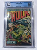 Incredible Hulk #180 CGC 9.0 OW/W Pages - 1st Wolverine Cameo - Marvel 1974