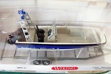 HO scale Wiking THW Multi-Purpose Lehmar MZB 72 Boat with Trailer  # 9546