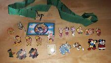 Disney Pins lot of 20 plus Pooh pin lanyard, Piglet, Eeyore, Tigger, Mickey.