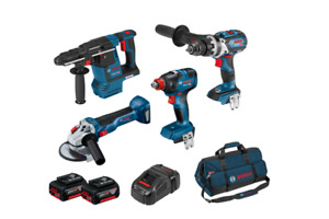 Bosch Blue 18V 4 Piece Brushless Combo Kit With 2 x 5.0AH Batteries