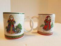Set Of 2 Vintage Pamela Gladding Certified International Santa Coffee Mugs