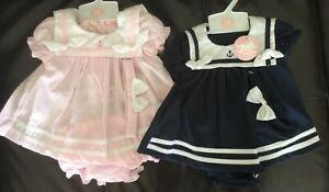 Baby Girl Summer Sailor Party dress set knickers headband pink navy 0-3-6-9 m