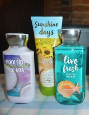 3 New Bath & Body Works Poolside Colada Lotion, Live Fresh Shower Gel, Sunny Day