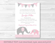 Pink Elephant Chevron Momma & Baby Printable Baby Shower Invitation Editable PDF